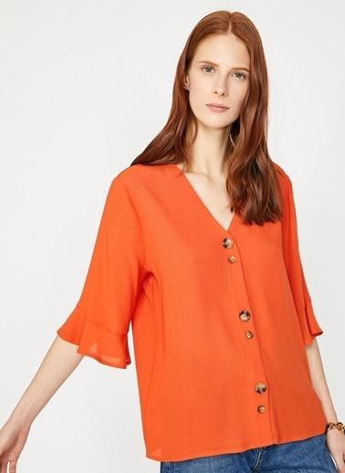 Koton V Yaka Gömlek Oranj